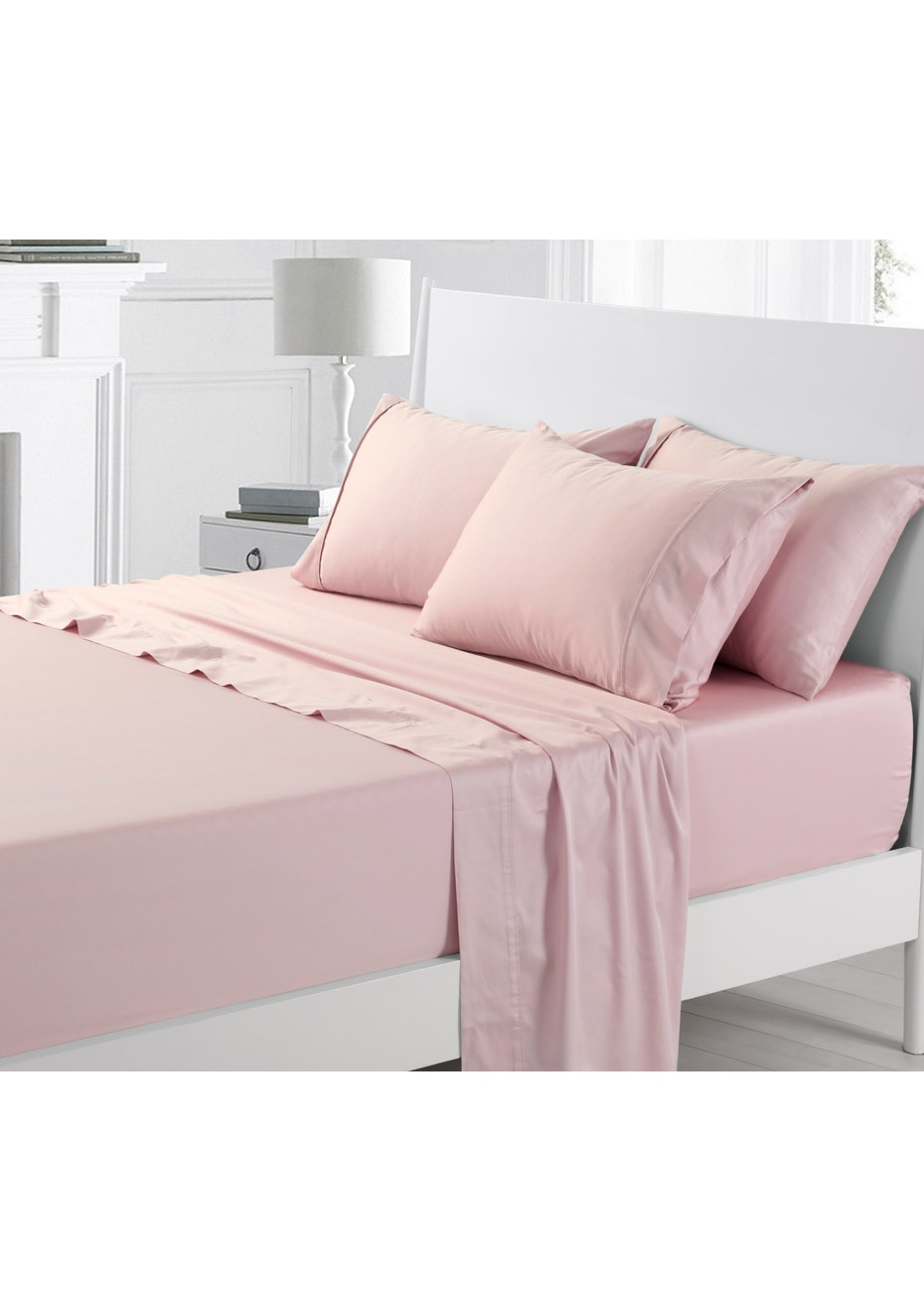 Rose Pink 300TC Cotton Sateen Sheet Set - Queen Bed