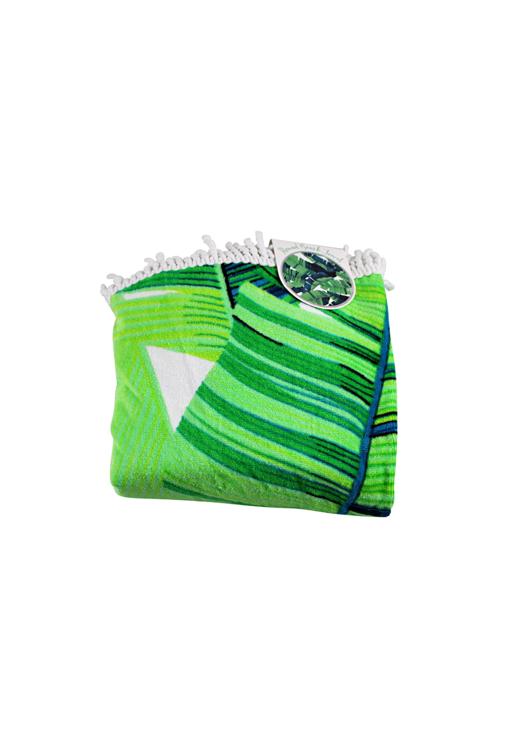 100 Cotton Round Beach Towel Palm Cove 140x140cm 350 Gsm