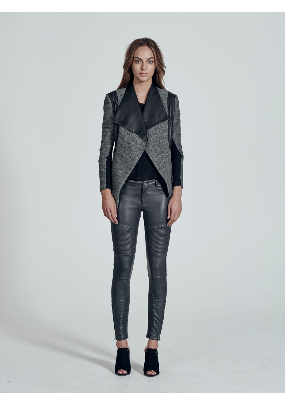 West 14th - Isabella Drape Jacket - Mix Material - White, Grey, Black