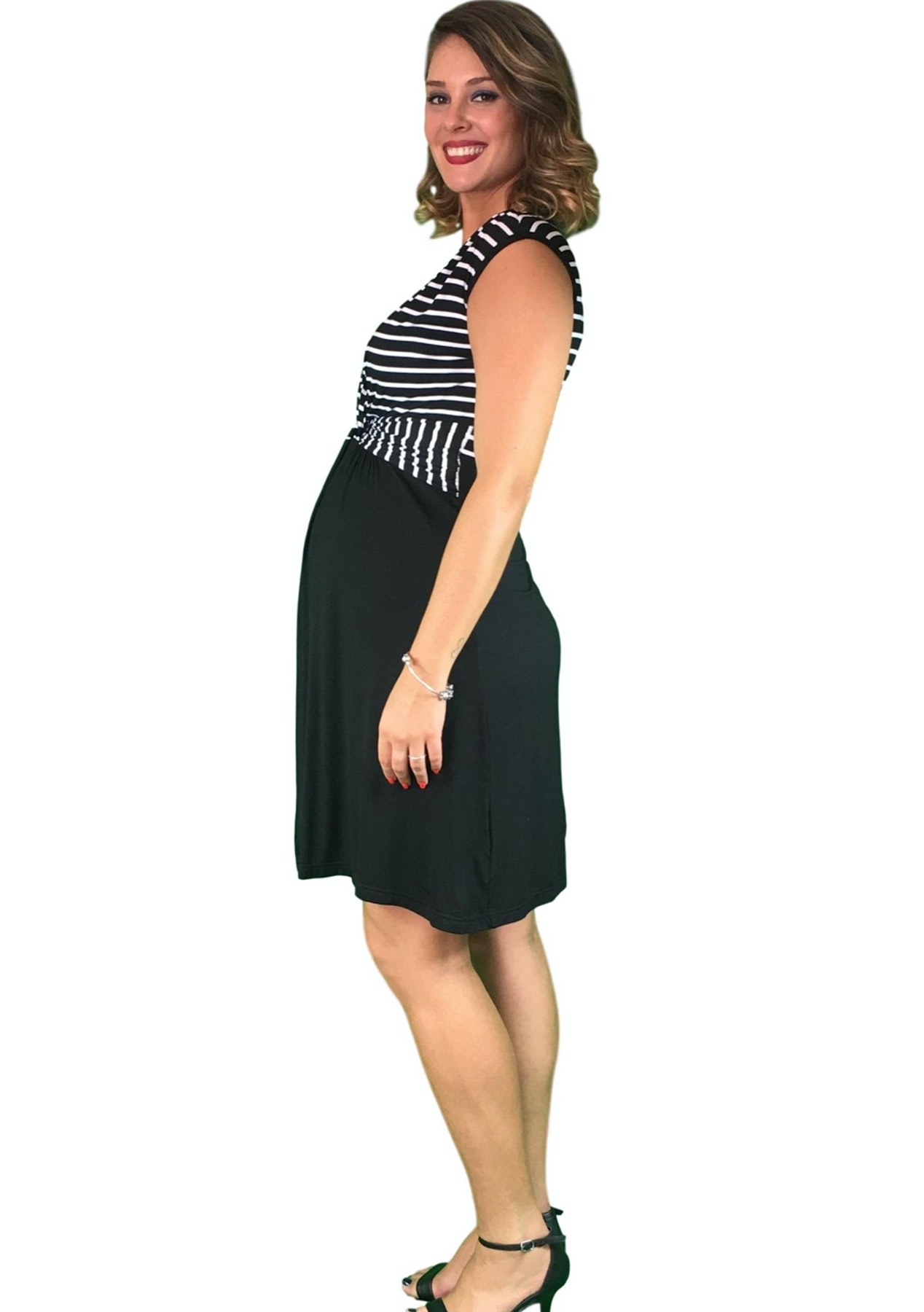 77a8343694a4e Maternity Clothes Online - Lilly & Me Cotton Crossover Maternity & Nursing  Dress - Striped - Rummage Rack Clear Out - Onceit