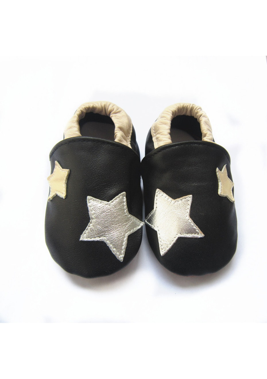 Baby Soft Sole Leather Shoes - Black/Star