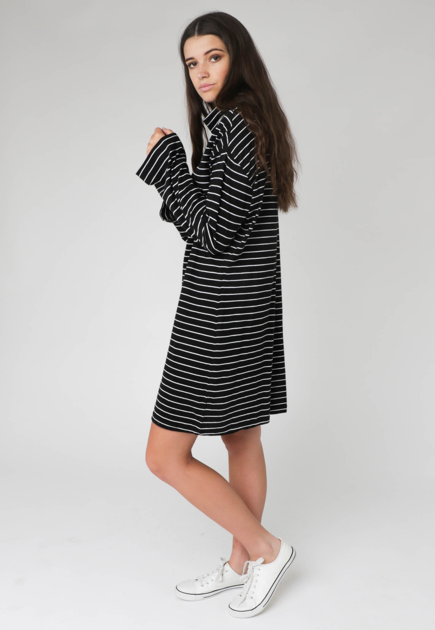 All About Eve - Dress Mason L/S - Black & Off White