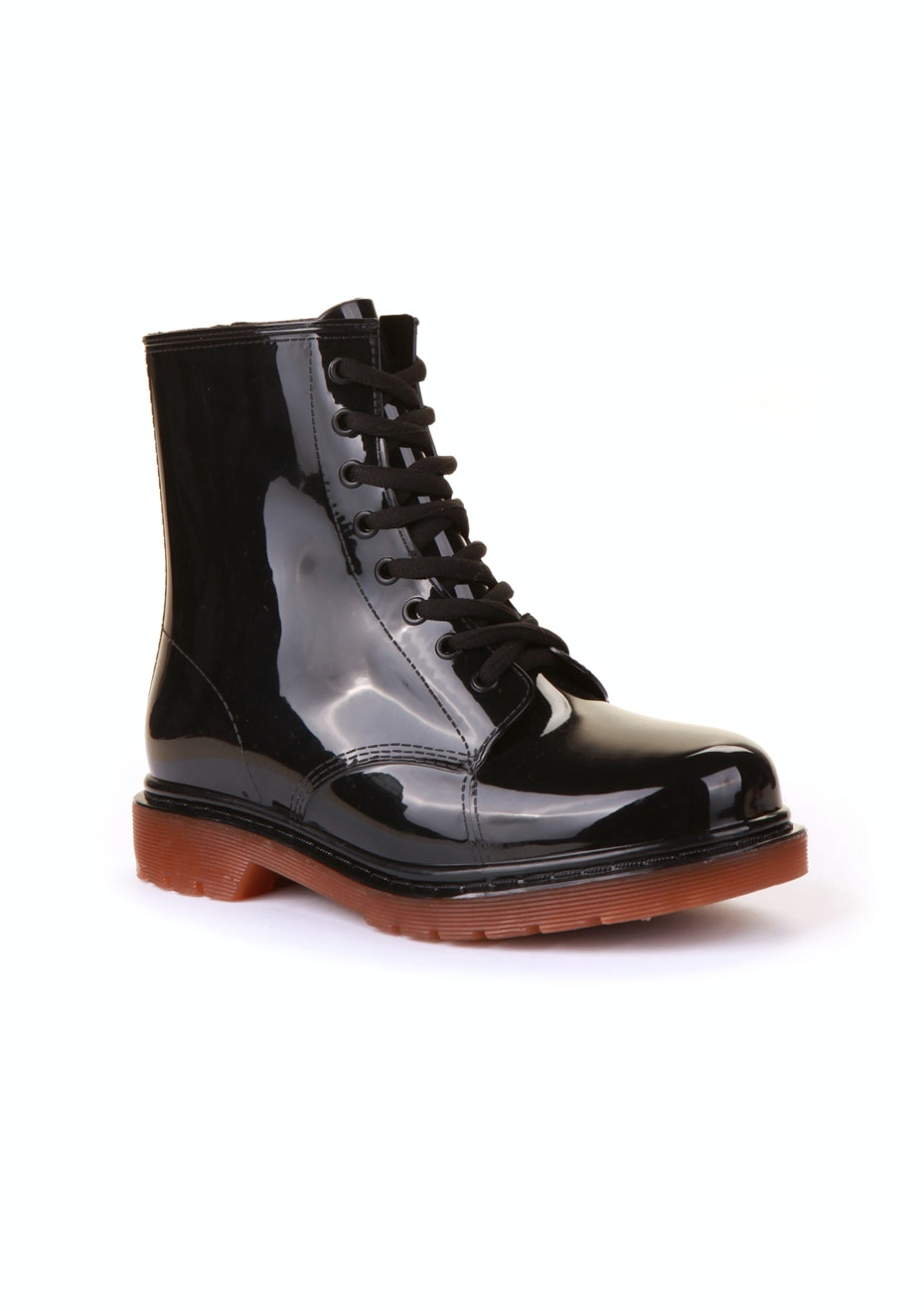 Two Tone Combat Boot - Black/Tan Sole