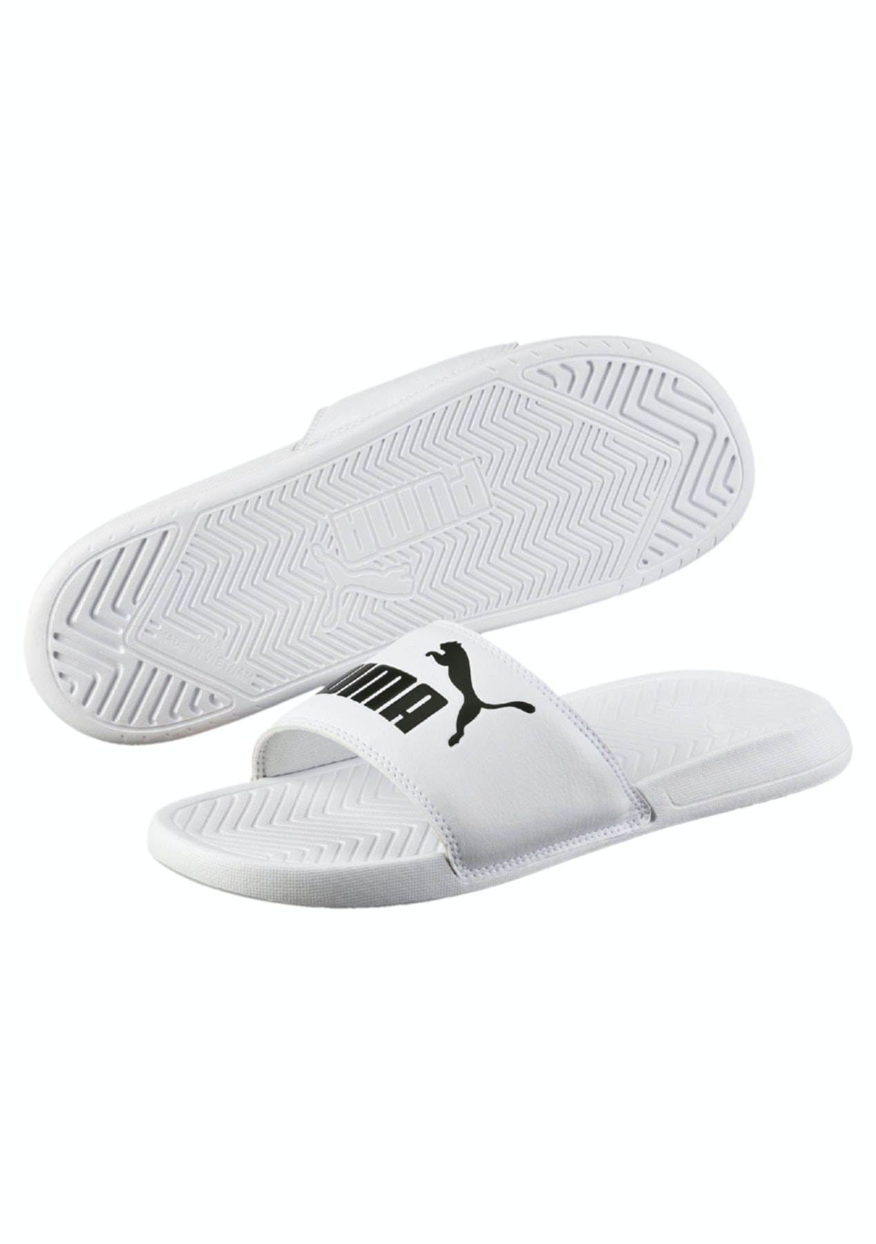 be82744693cc Puma - Popcat Slides White-Black - Womens - Summer Slides and Sandals -  Onceit