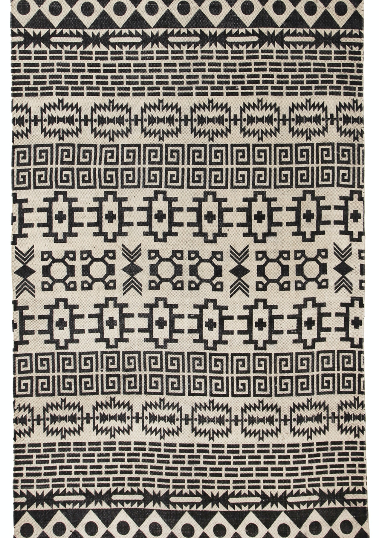 Logan b w stonewashed cotton tribal mohican fringed rug 270x180cm rugs 299 under onceit