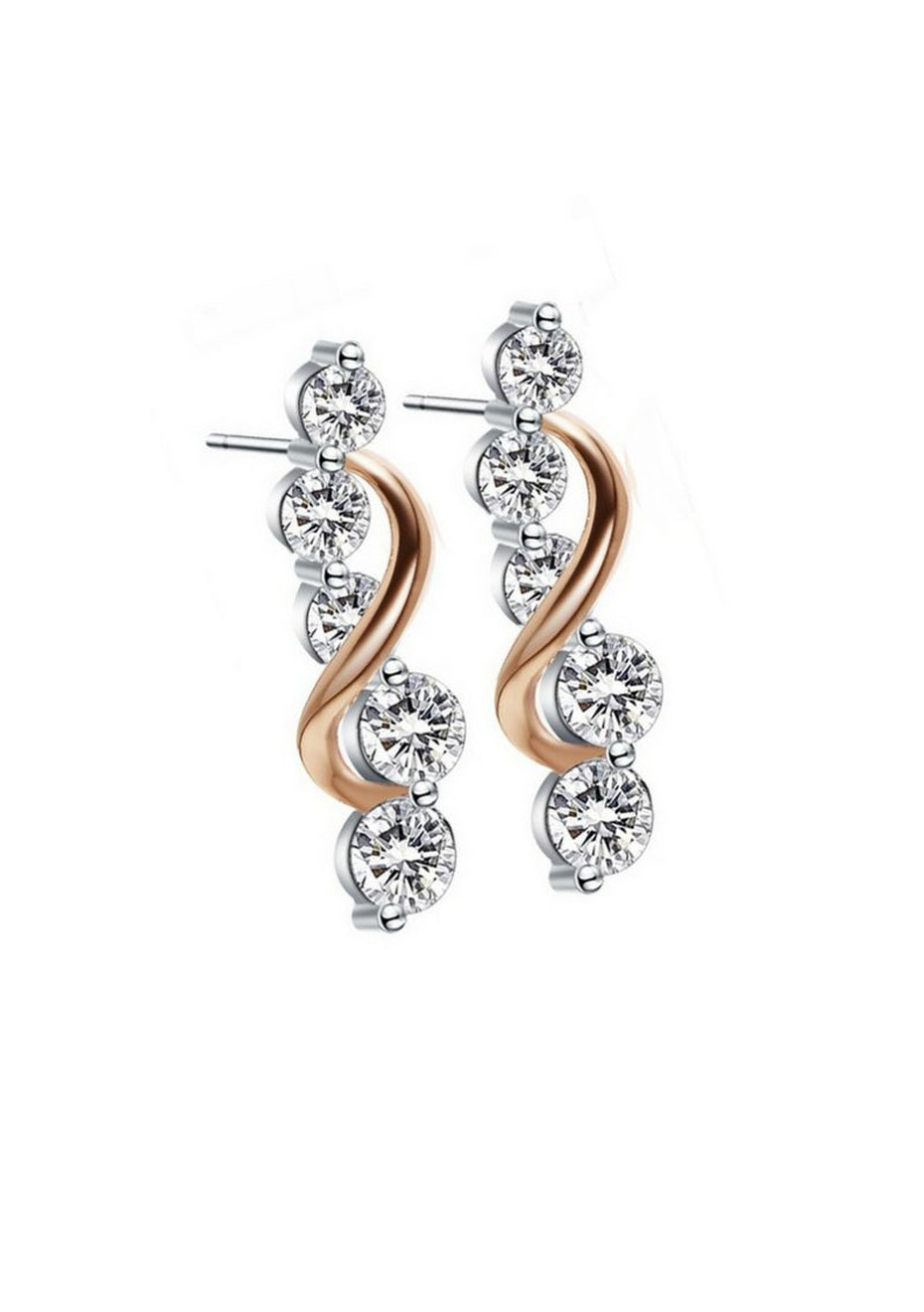 Two Tone Earrings Embellished with Crystals from Swarovski
