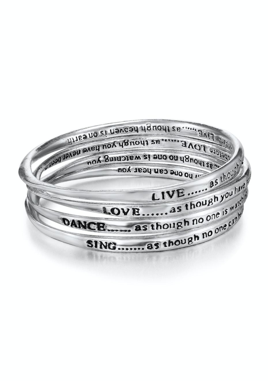 Silver Inspiration Bangle Set