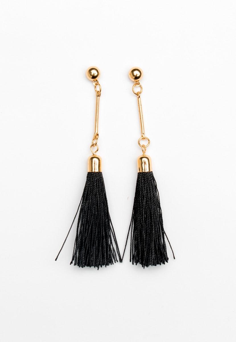 Bar drop Tassel Earrings - Gold/Black