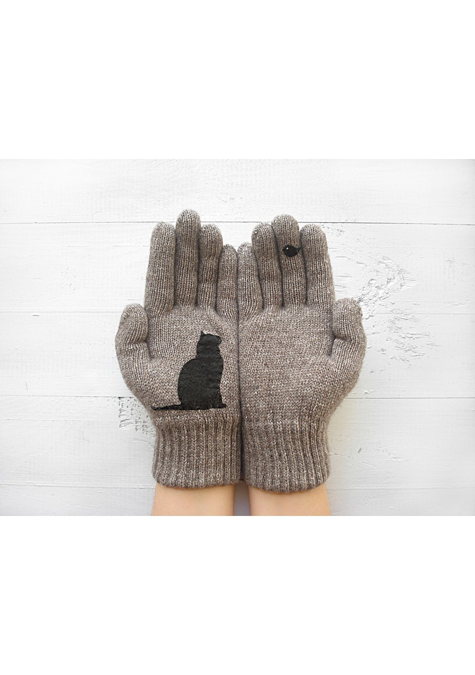 Cat & Bird Gloves - Taupe