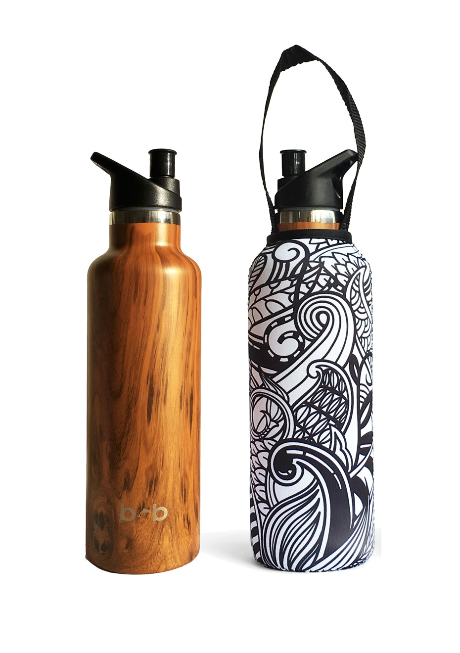 BBBYO - Thermal Traveller Bottle+ Carry Cover (Koru  Print)- sports cap - 750 ml Woodgrain