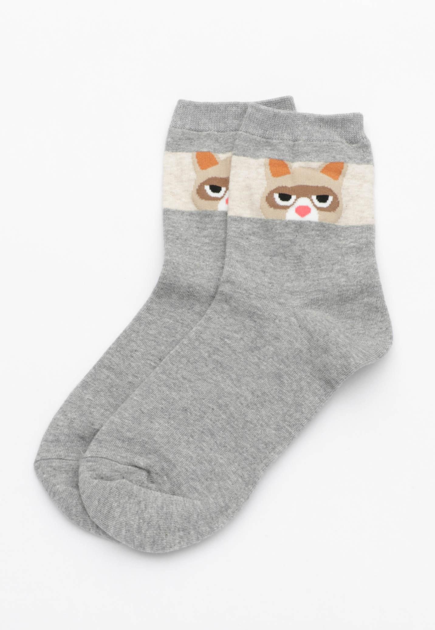 Shifty Eye Raccoon Socks - Grey