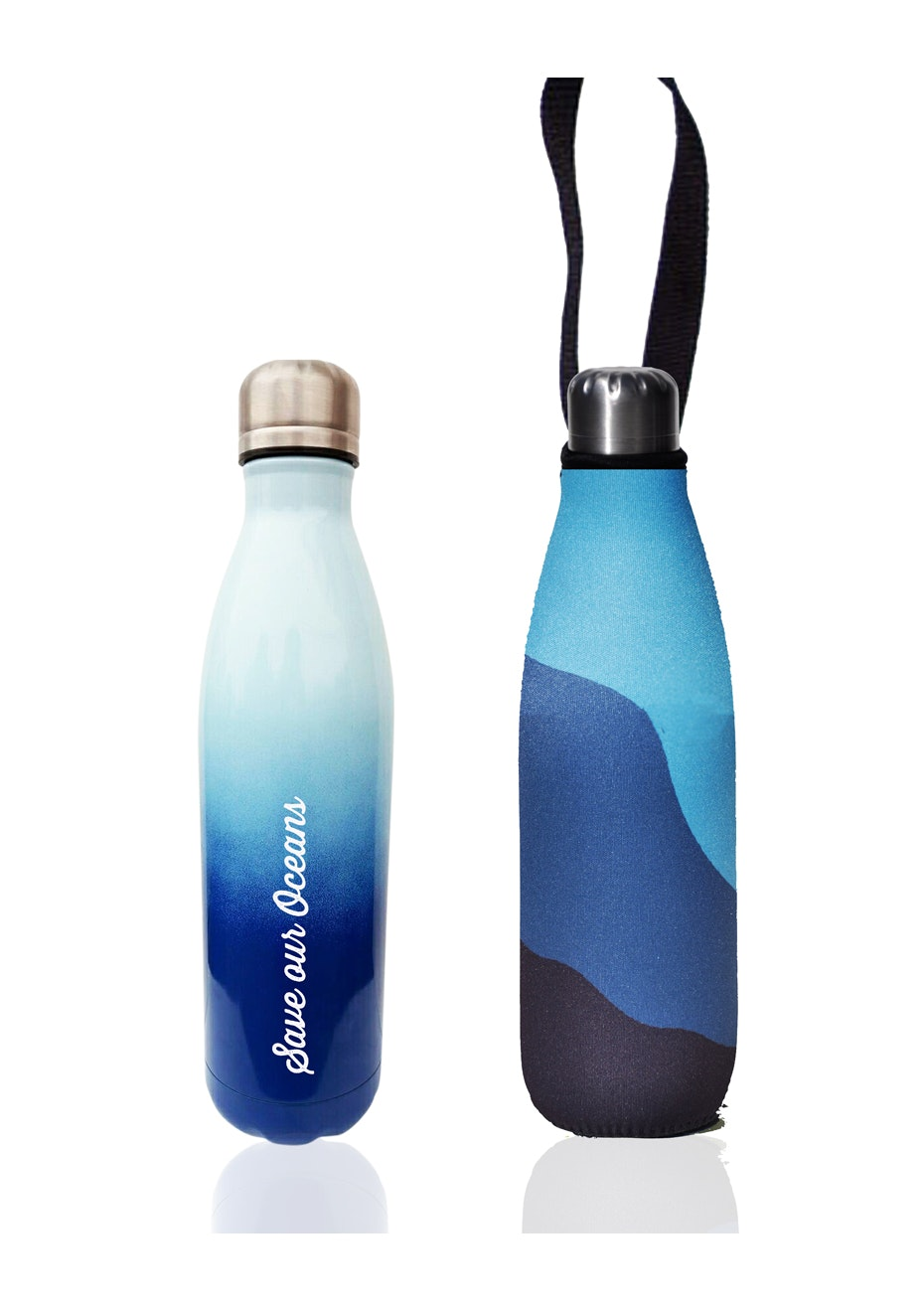 BBBYO - Future Bottle+ Carry Cover  (Big Blue Print) - 750 ml Trans Blue