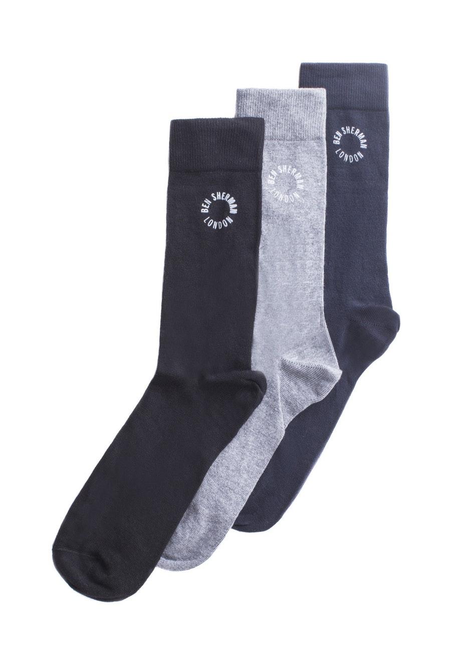 Ben Sherman - Elm 3 Pack Socks - Grey Marl - Black