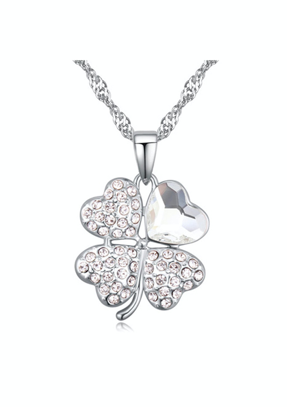Clover Pendant Necklace Embellished with Crystals from Swarovski -CLR