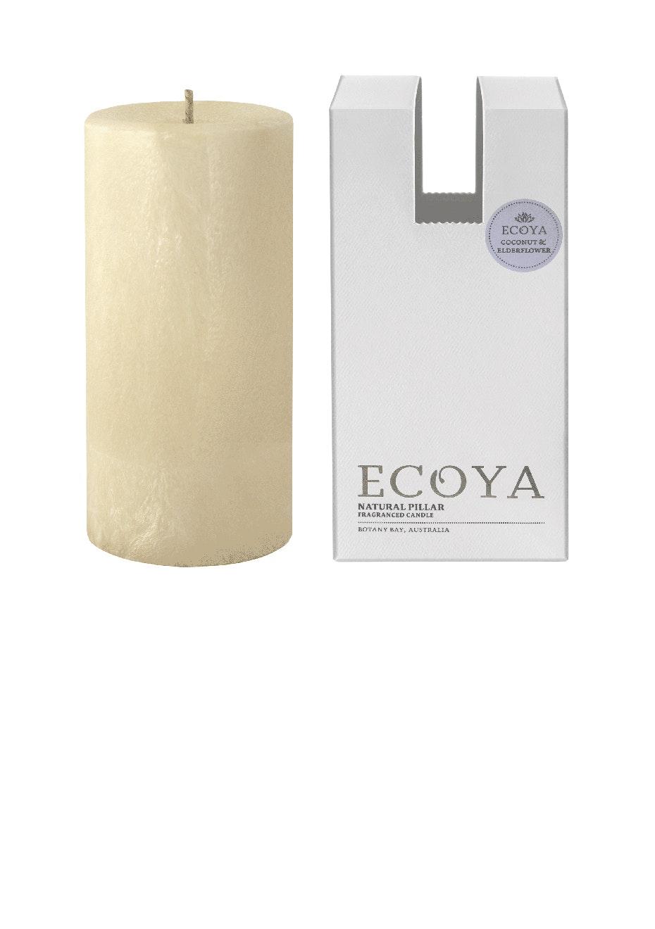 Ecoya - Pillar 75X155 Natural - Coconut & Elderflower
