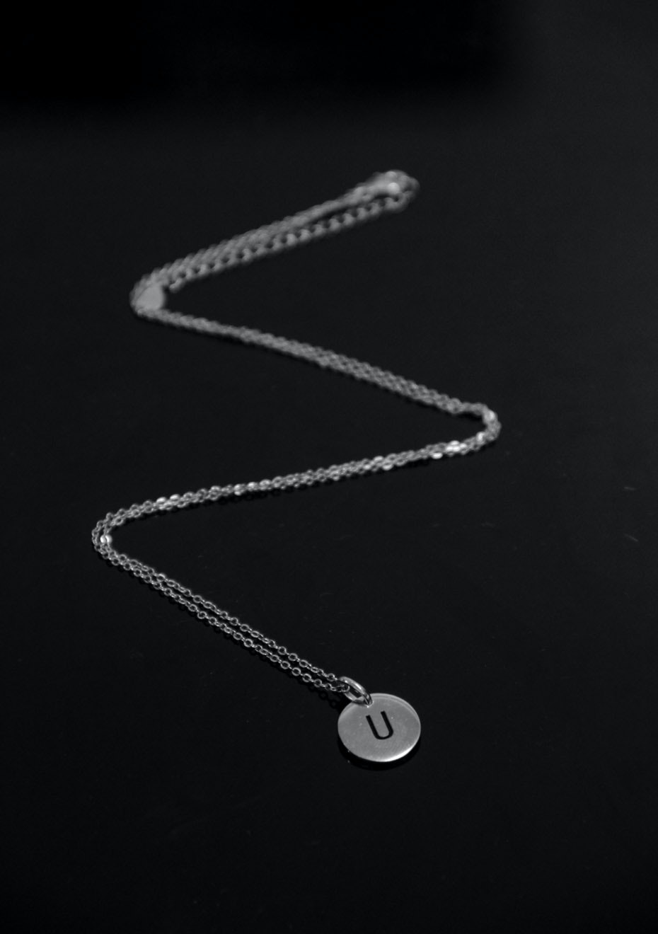 Stampled initial necklace - U