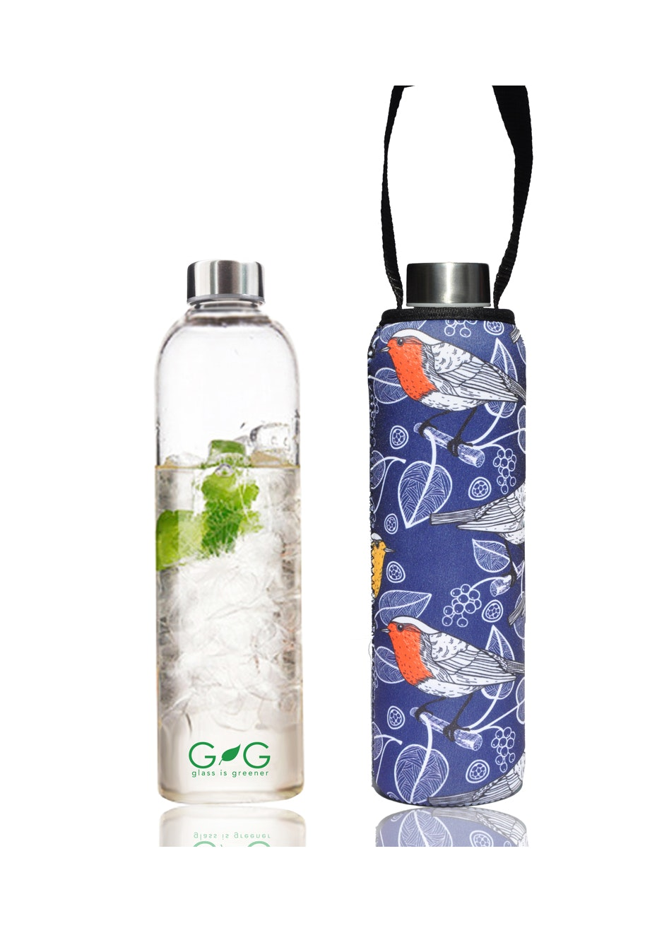BBBYO - Glass Is Greener Bottle 750 ml + Carry Cover (Sparrow Print) -750 ml