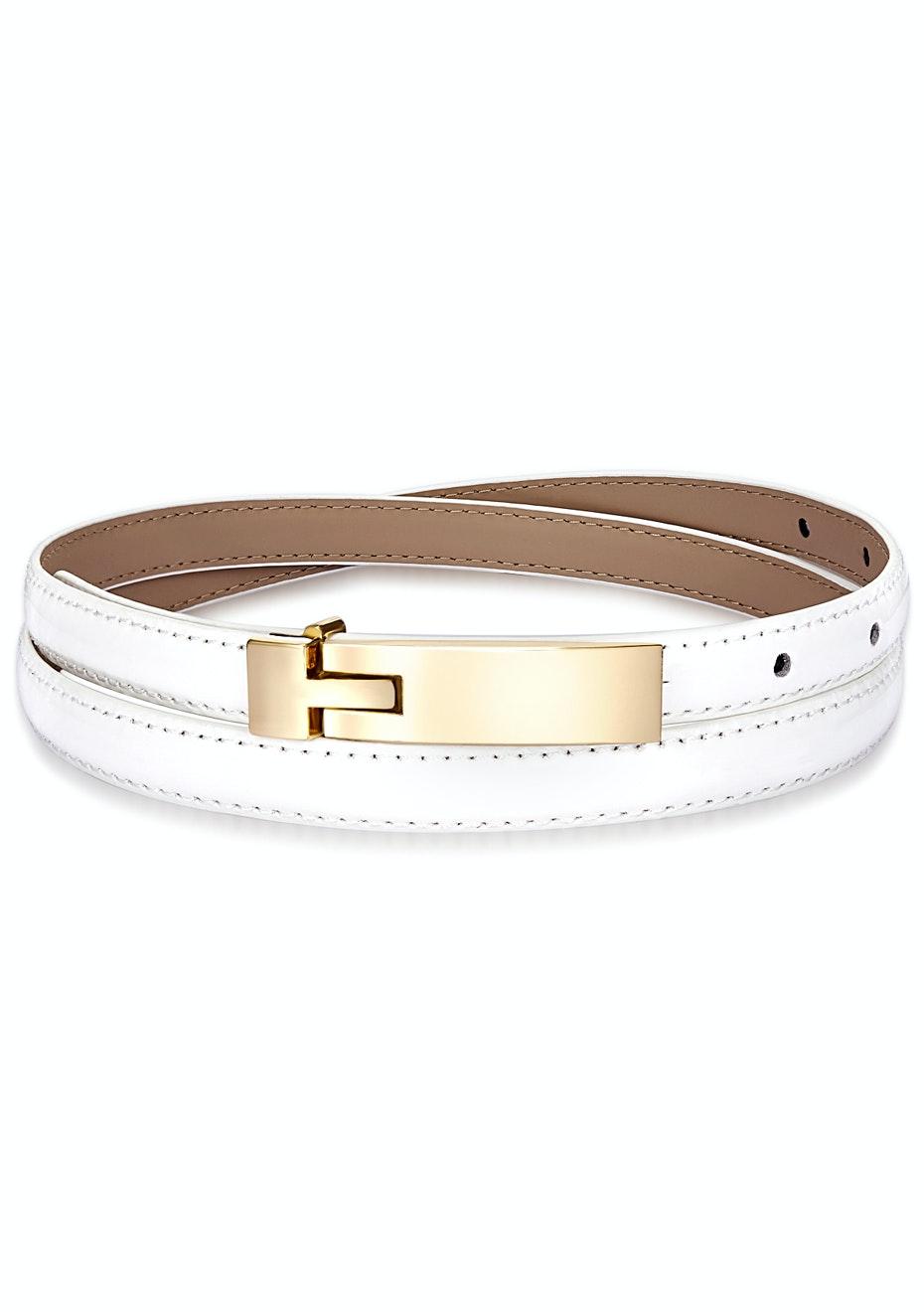 Genuine Cow Leather Skinny Waist Belt-Amelia white