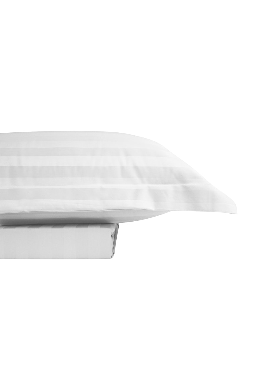 1000 Thread Count - Cotton Rich Quilt Cover Set Sateen Stripe - White - Queen Bed