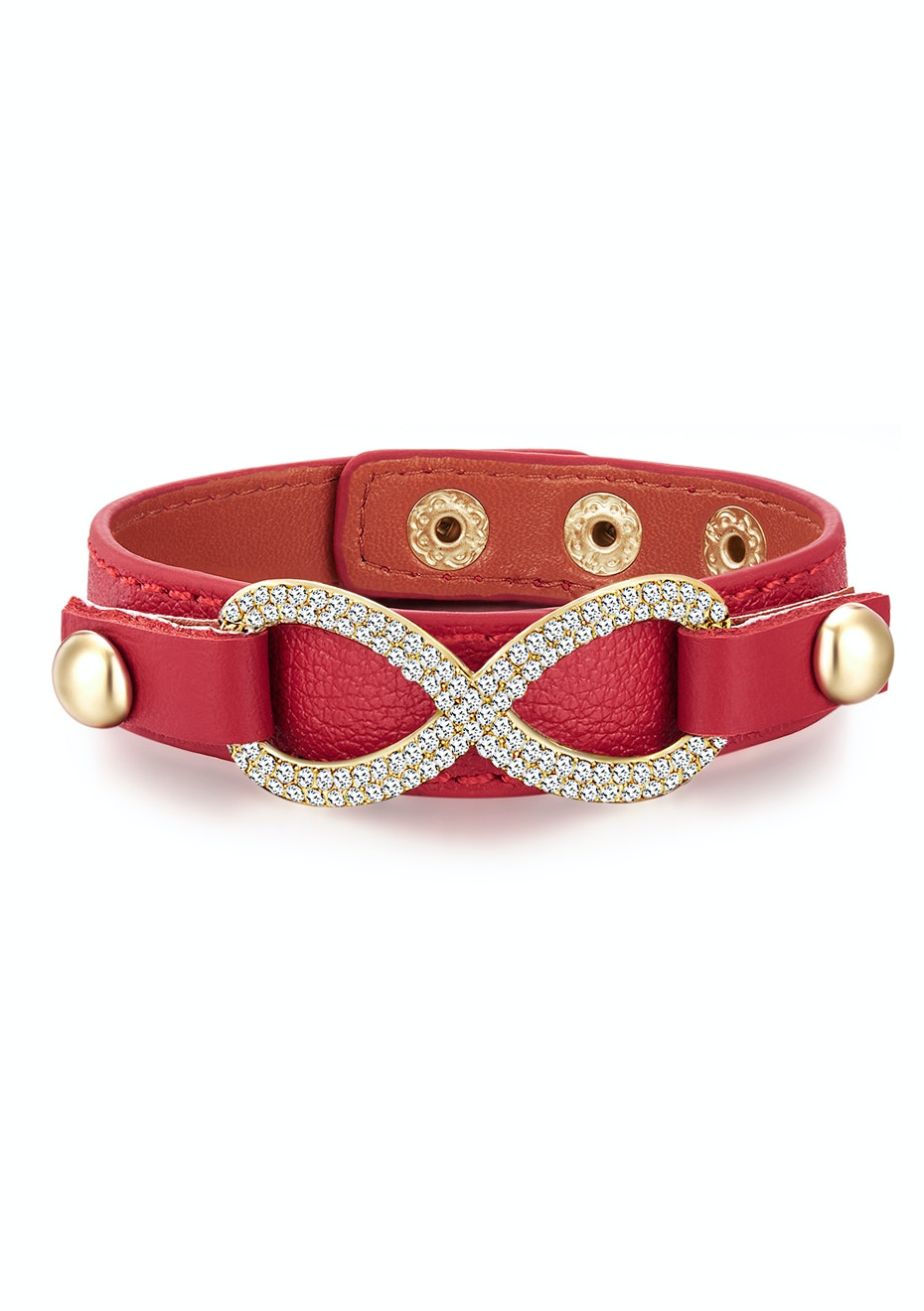 Genuine Cow Leather Infinite Bracelet -RED