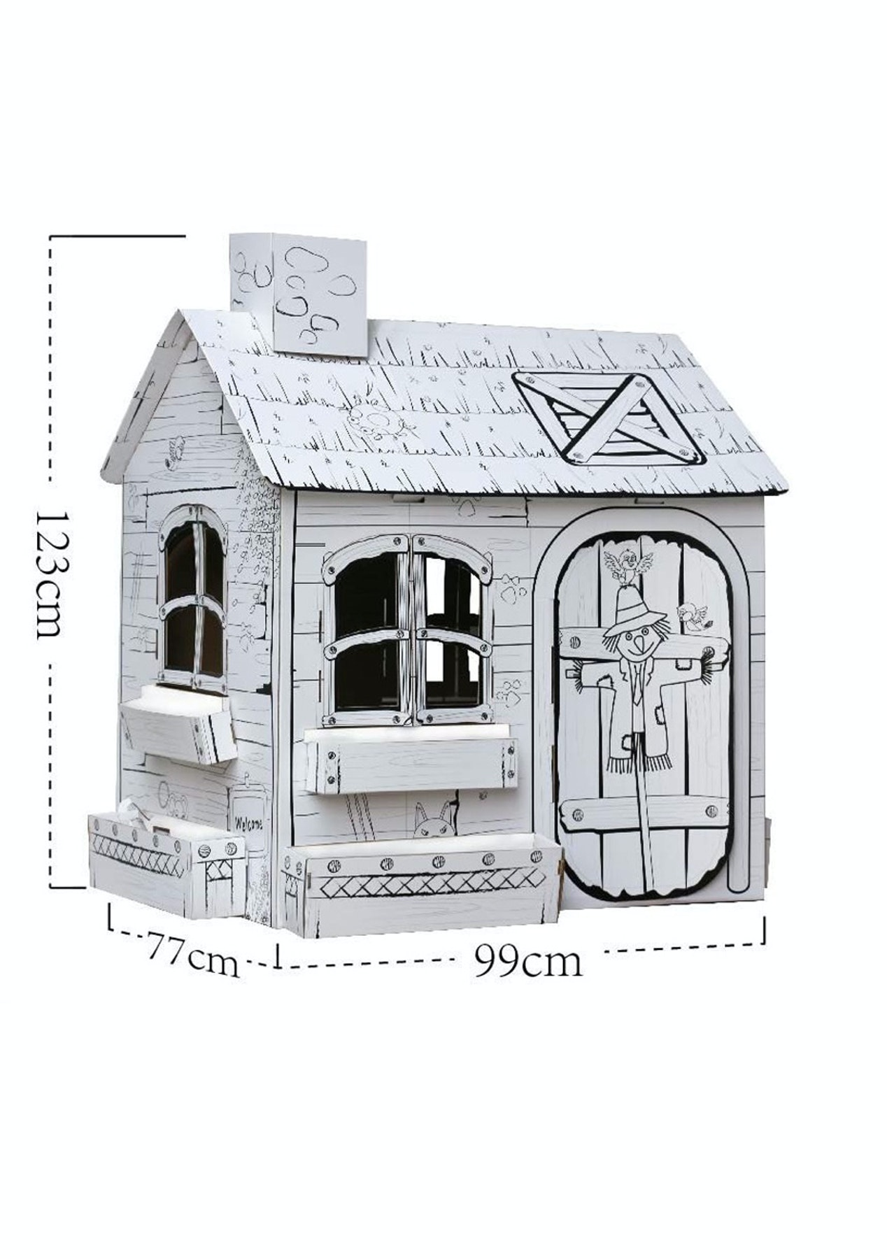 Coloring Cardboard Playhouse - Large Pastrue House - Kids Holiday ...