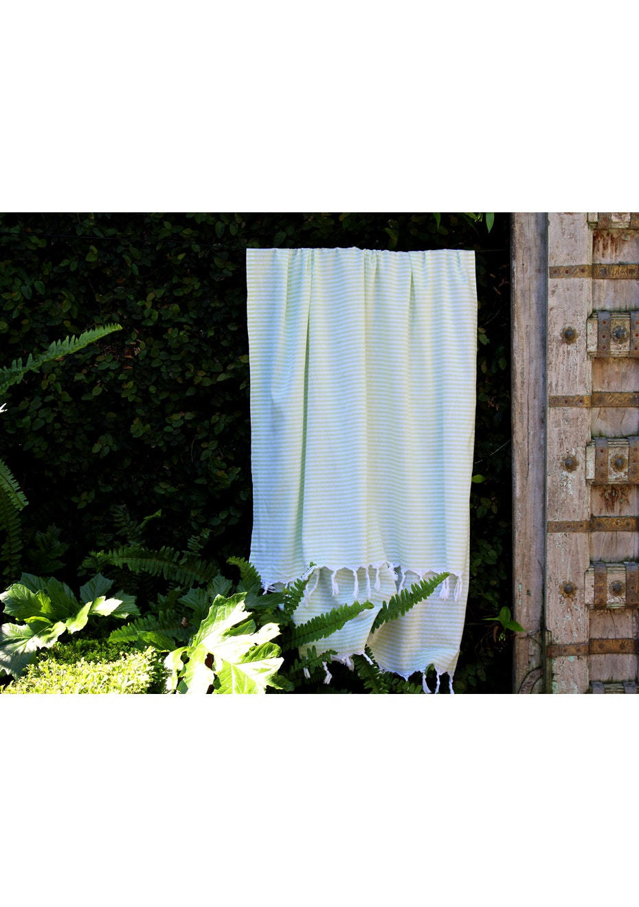 Fresh Lime Green Stripe Turkish Towel