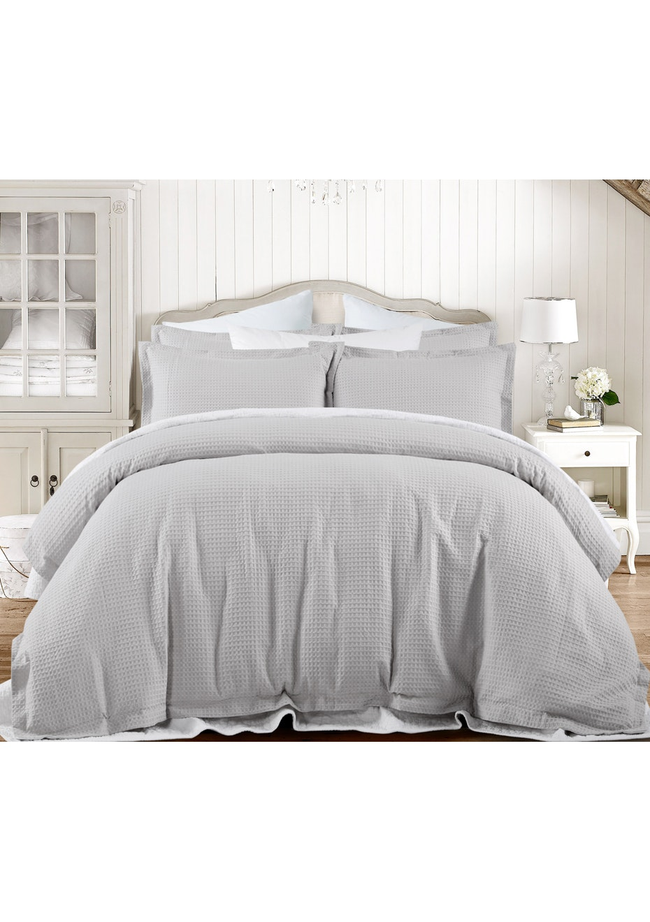 Grand Atelier Grey Hotel Waffle Quilt Cover Set- Queen Bed