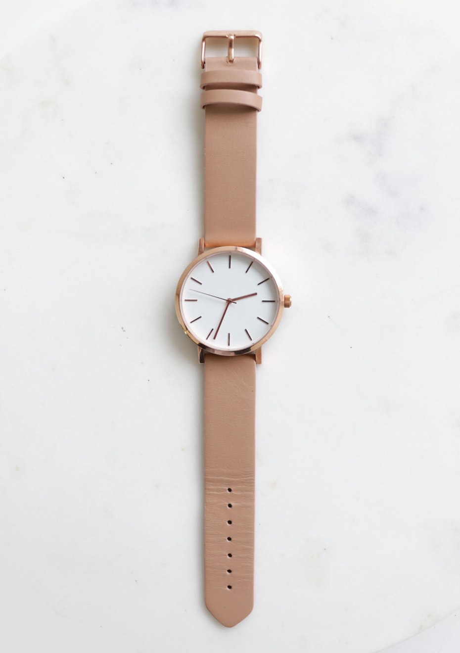 Minimal Leather Stainless Steel Watch - Nude Rose Gold