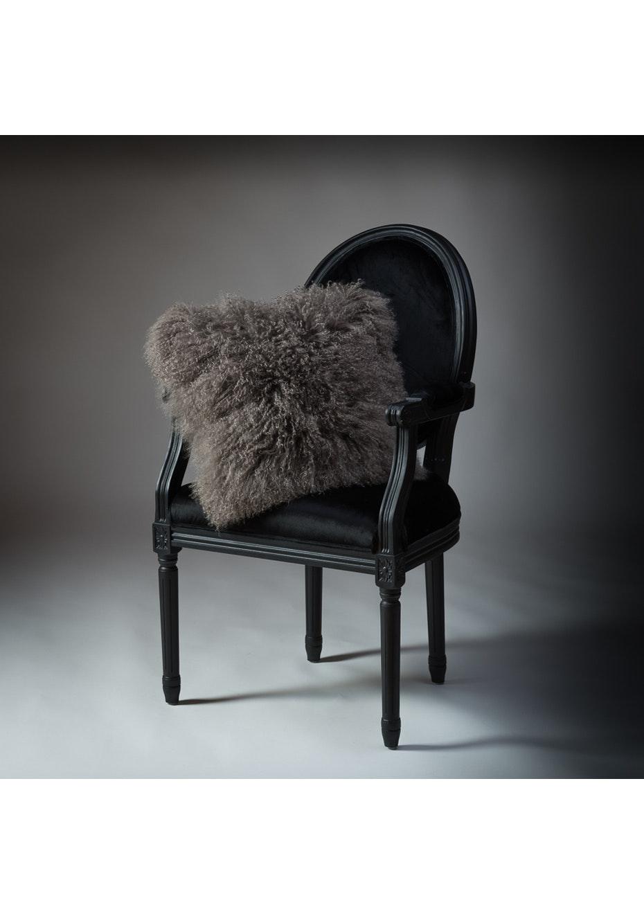 Noozi - Lambs Wool Cushion - Taupe  Grey - Square