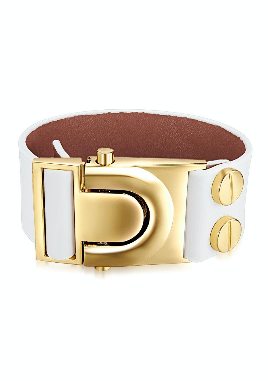 Genuine Cow Leather Clasp Bracelet - WHT