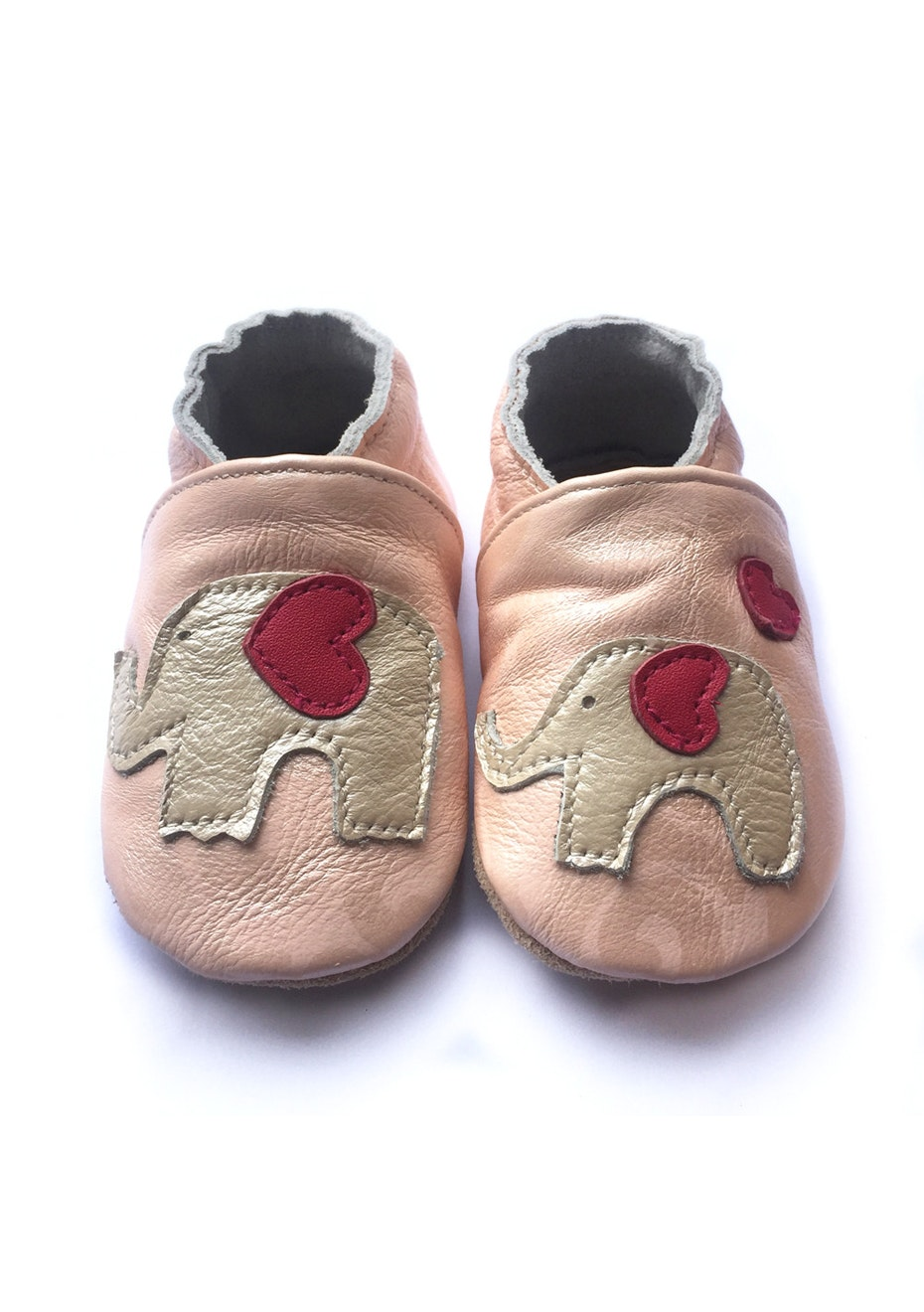 Baby  Leather Shoes - Pink / Elephant