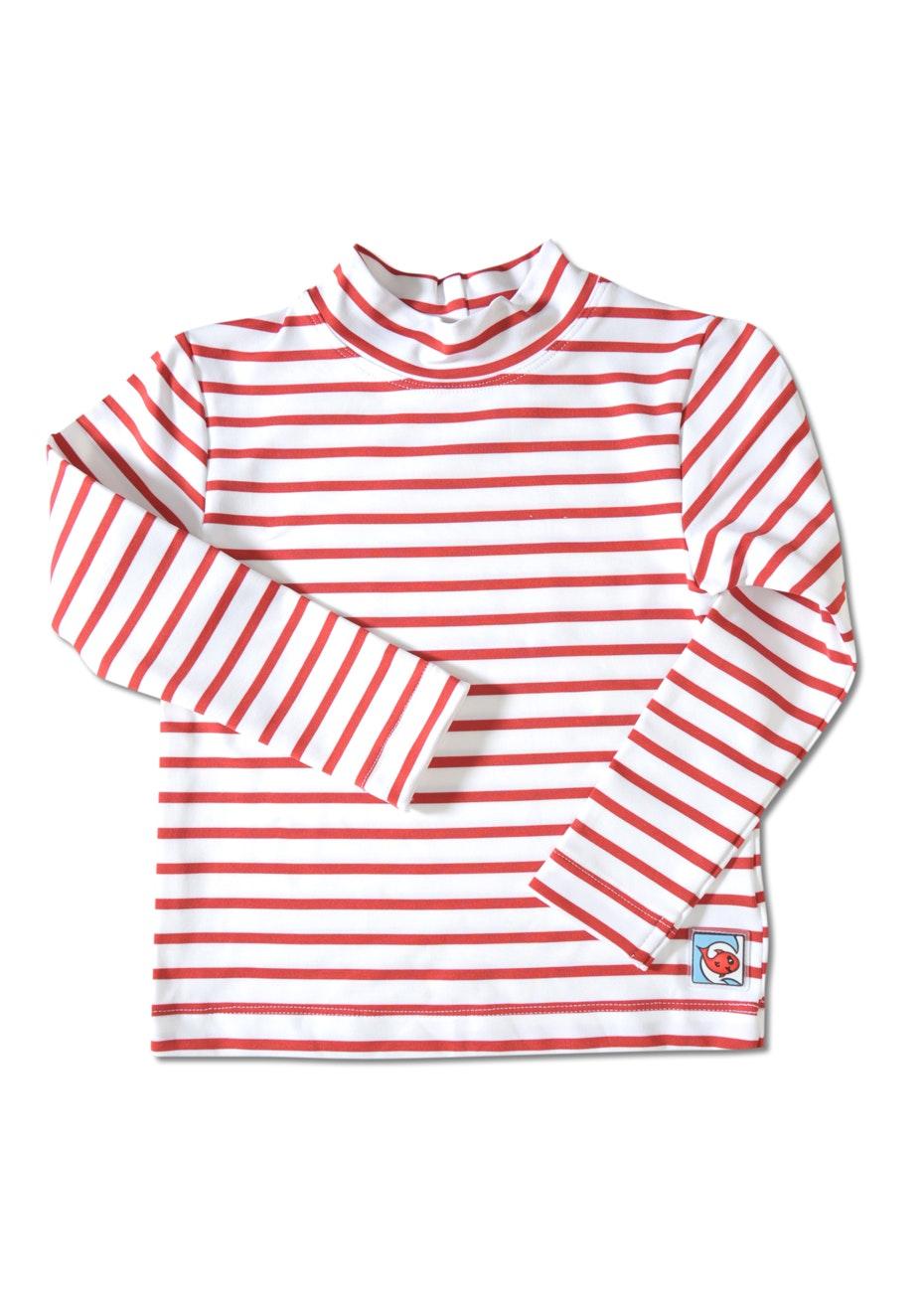 Little Red Fish - Long Sleeve Swimshirt - White & Red Stripe