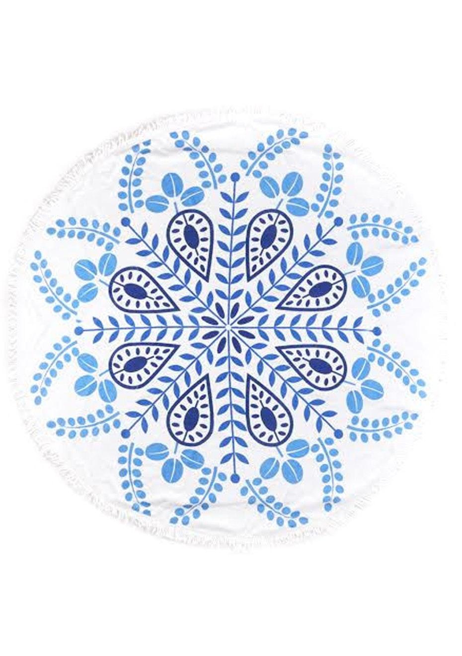 White Snowflake Round Towel
