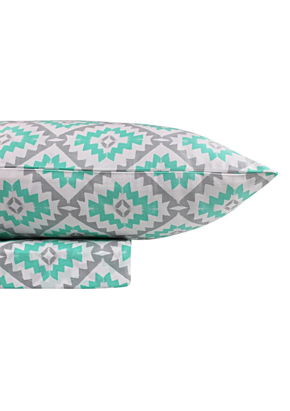 1000 Thread Count –Yukata Print Sheet Sets -Mint | Silver - King Bed