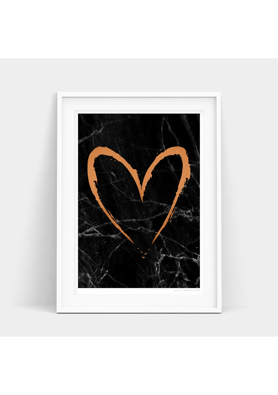 Simply Creative - Dark Copper Heart - A3 Copper Foil Print