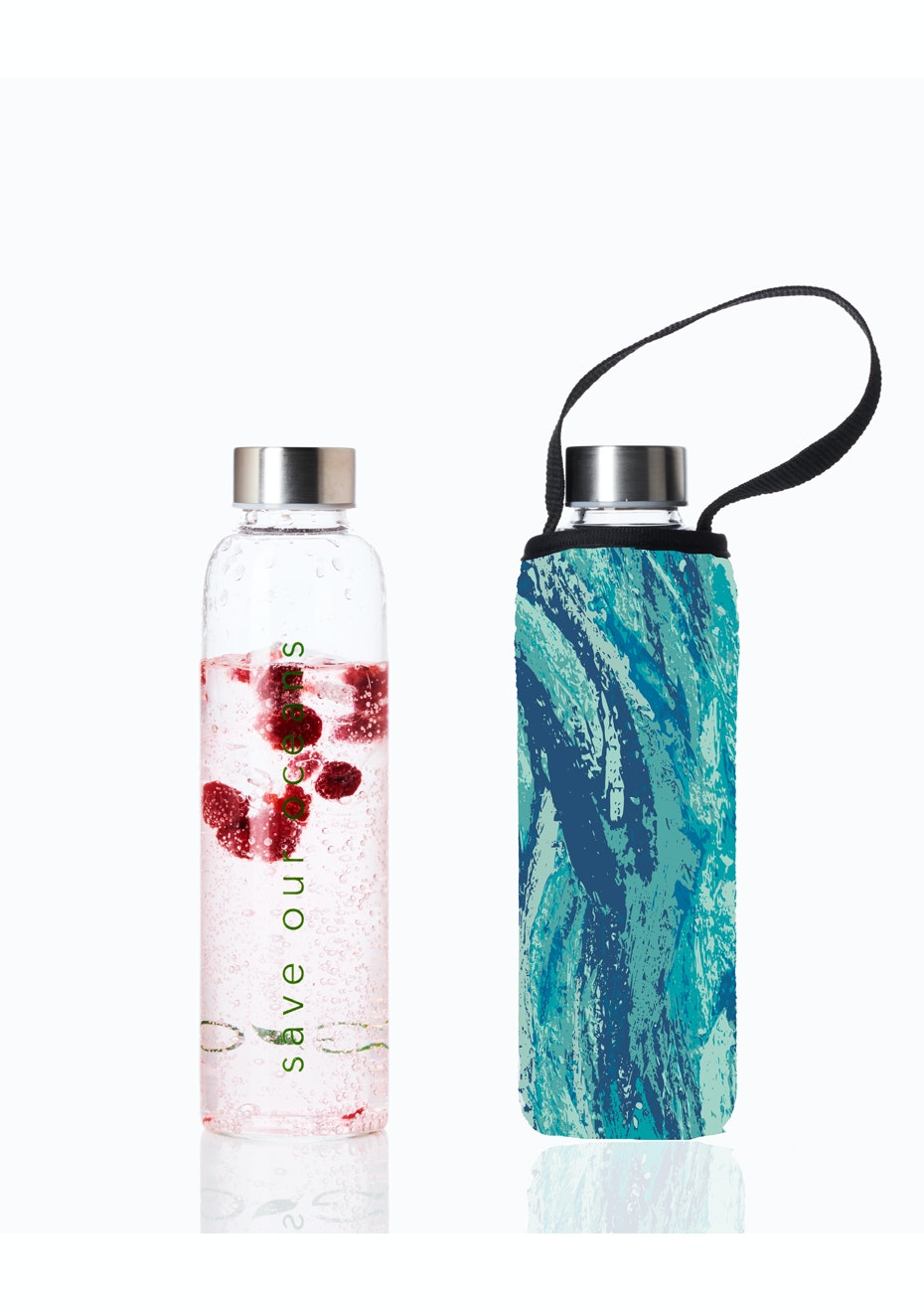 BBBYO - Glass Is Greener Bottle 570 ml + Carry Cover (Gush Print) - 570 ml