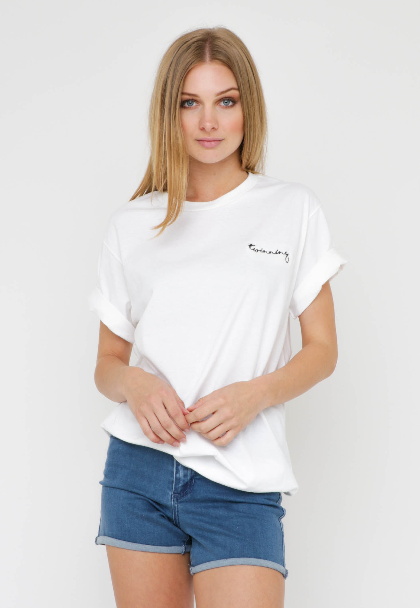 Twinning - Embroidered Crew Tee - White/ Black Writing