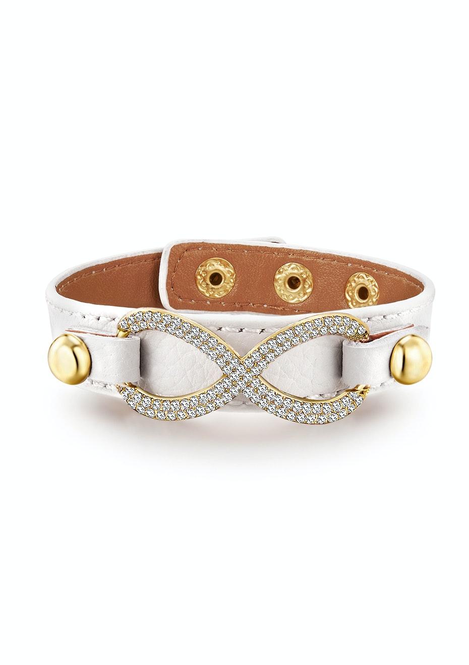 Genuine Cow Leather Infinite Bracelet -WHT