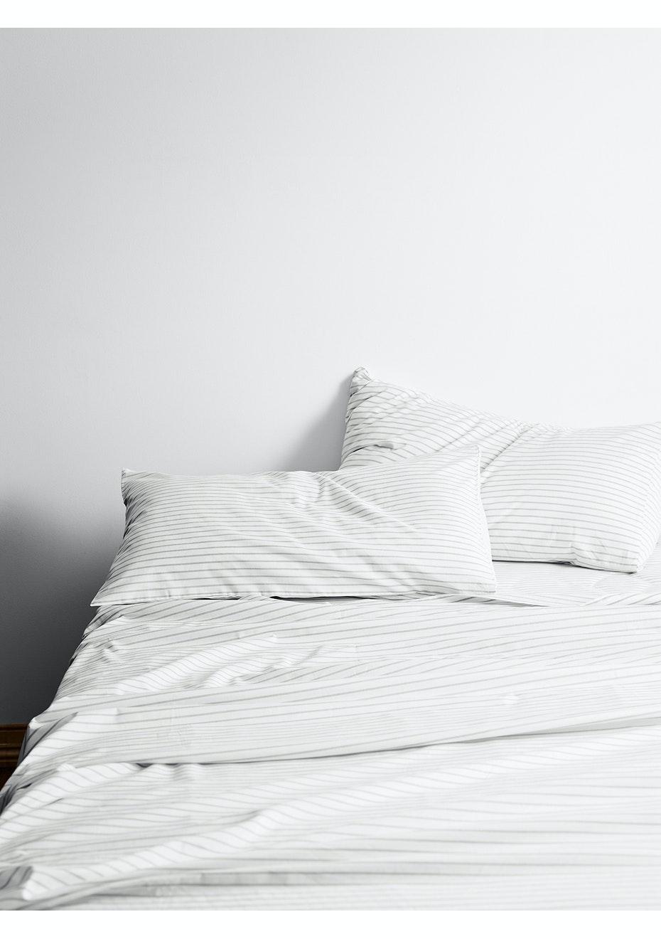 Aura Vintage Stripe King Bed Sheet Set Dove Stock Up Worthy Bedding Towel Sets Onceit
