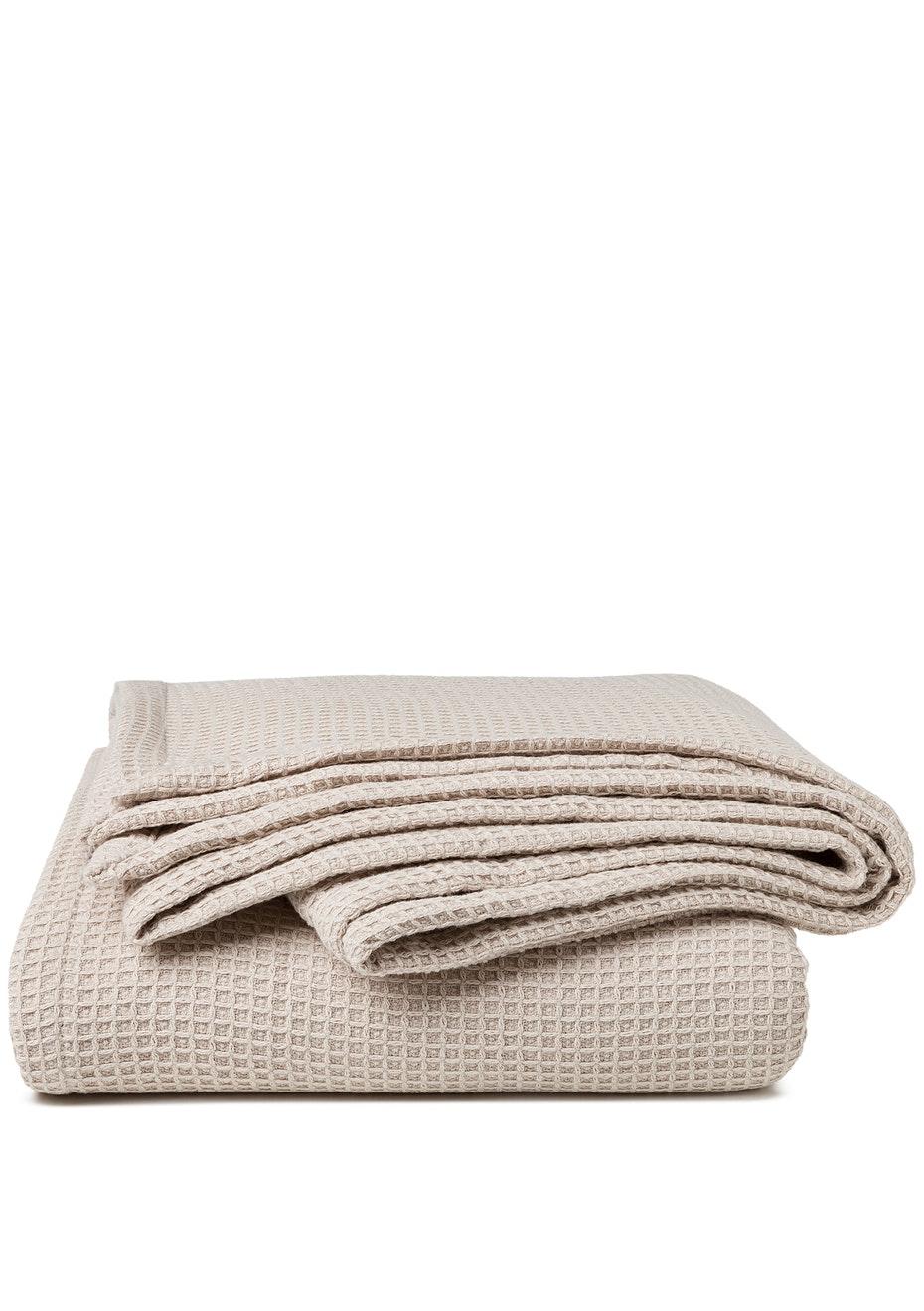 Sogno Linen Blend  Blanket Sandstone
