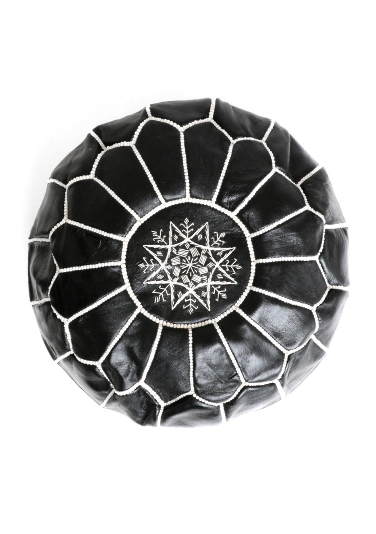 Moroccan Pouf - Black w White Stitching
