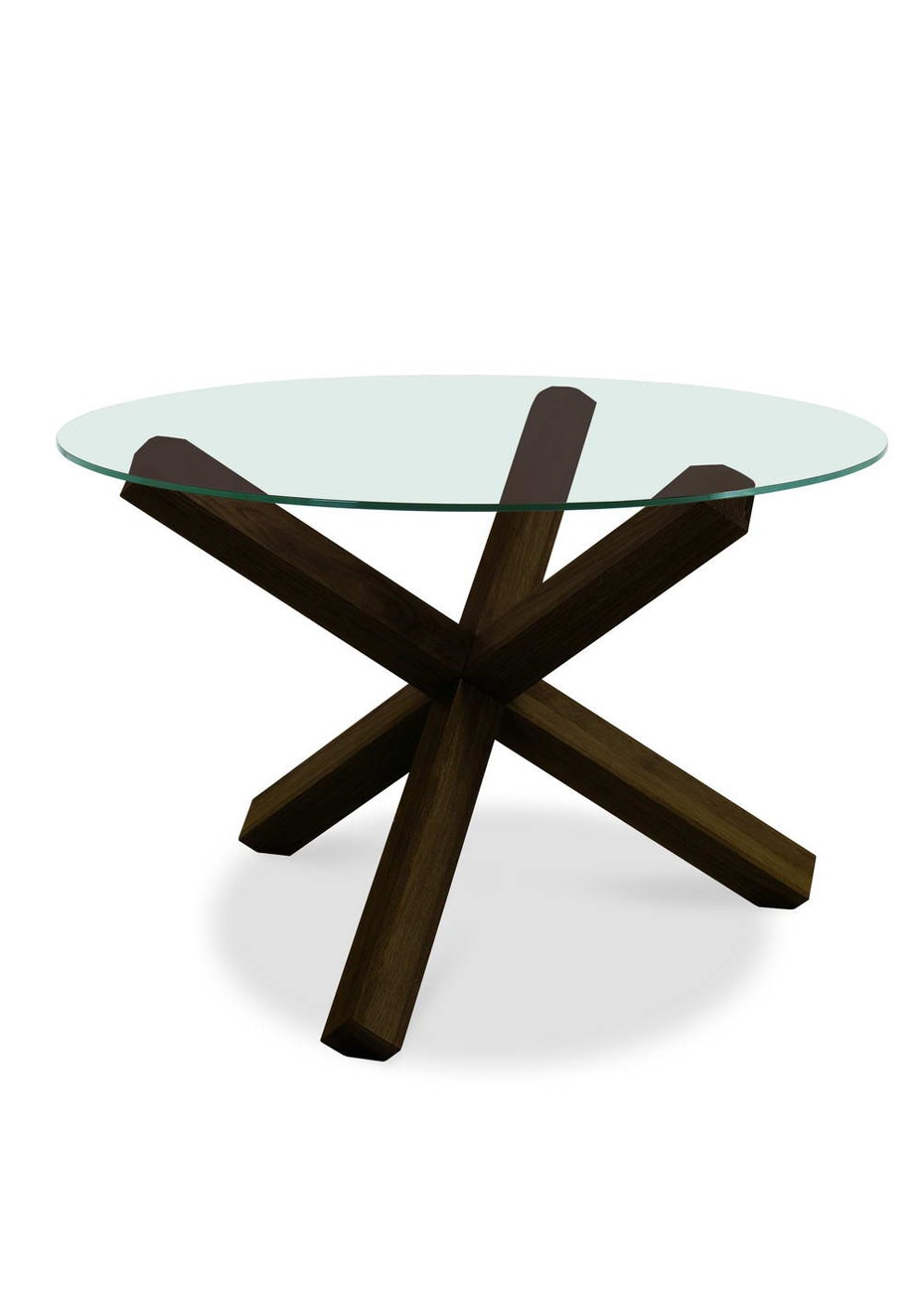 Furniture By Design - Lyon Round Glass Table- Walnut and Glass