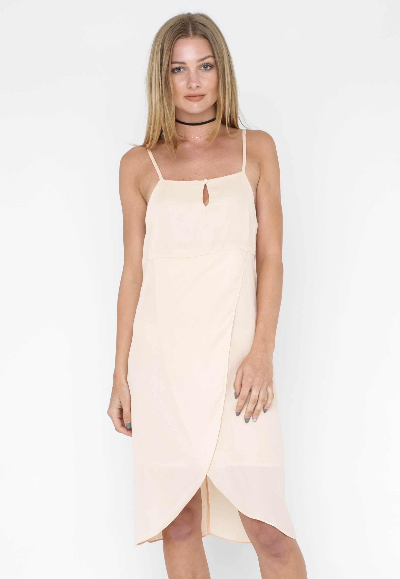 Shoe String Cross Over Dress - Peach