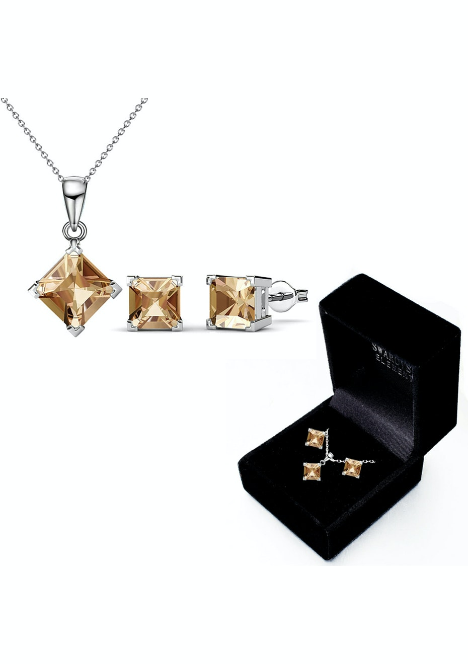 Boxed Matching Set Embellished with Crystals from Swarovski - Campagne