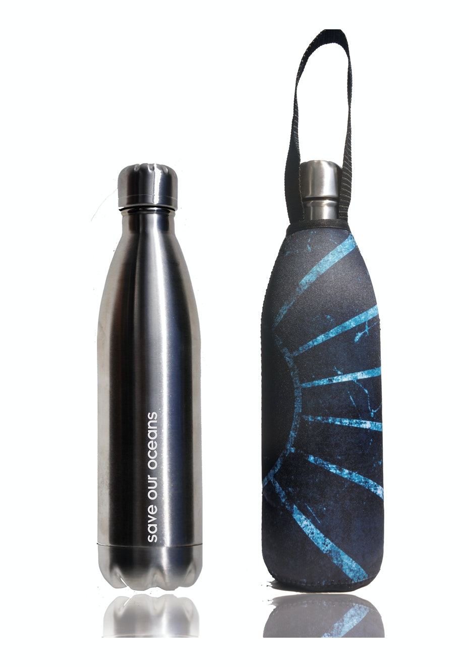 BBBYO - Future Bottle + Carry Cover (Sun Print) 1000 ml Silver