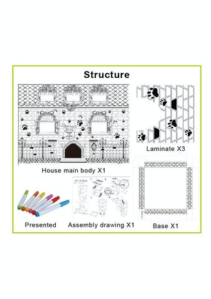 Coloring Cardboard Playhouse - The Cat Castle