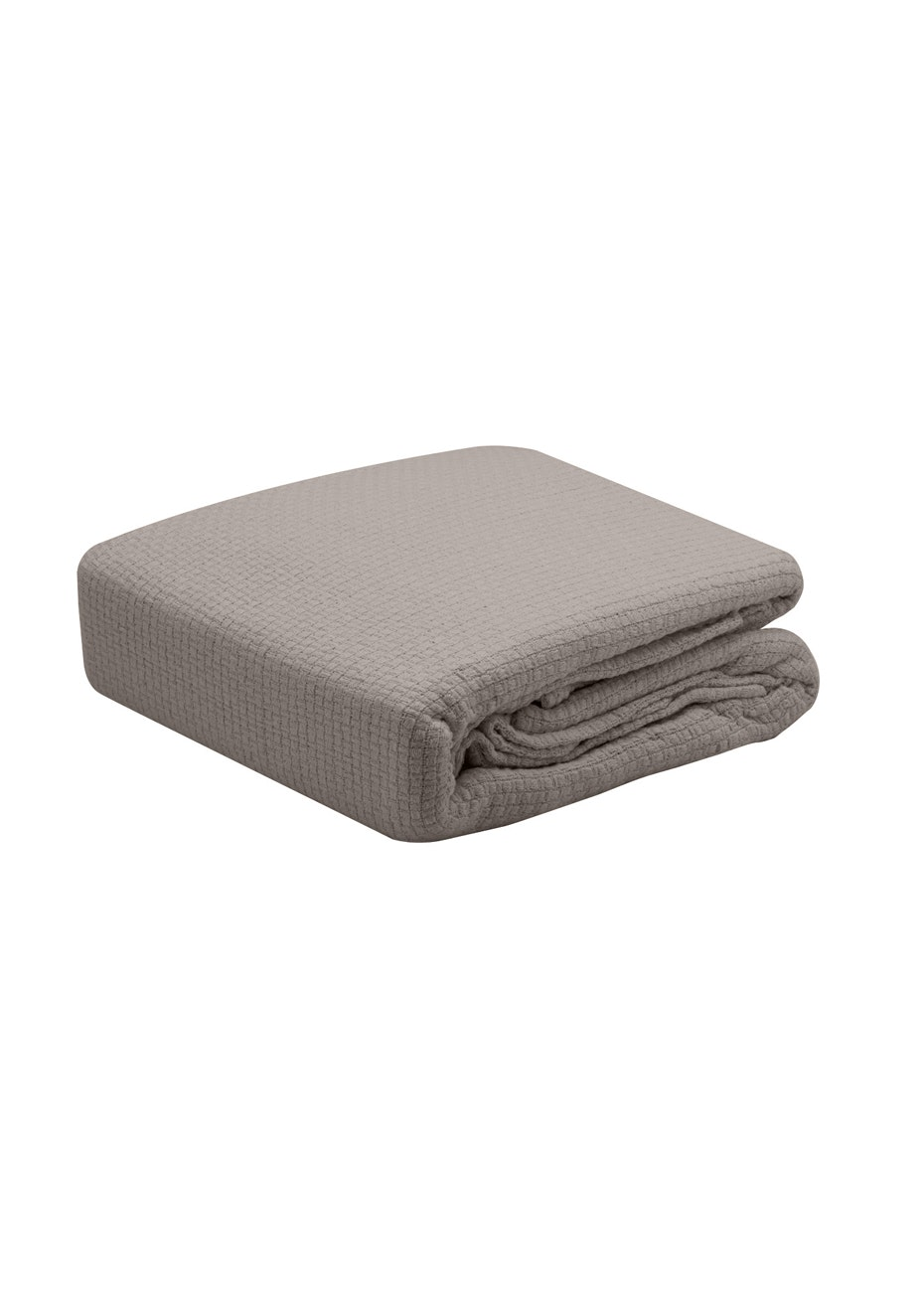 Pebble Weave Cotton Blanket - Stone - Single Bed