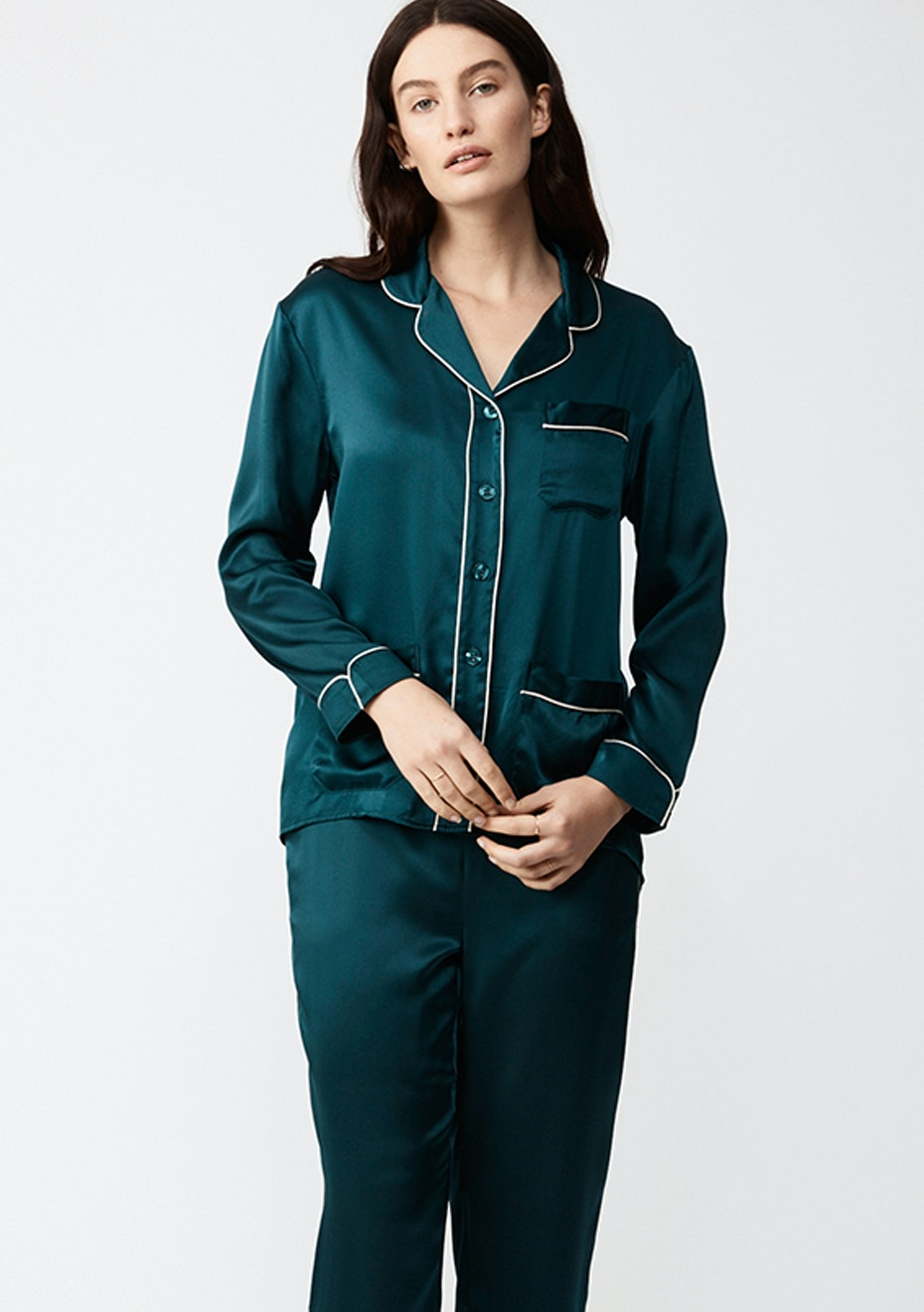 NATALIJA - Long-Sleeve Silk Pj Shirt - Emerald
