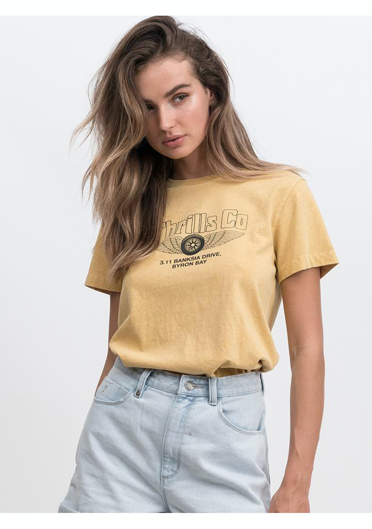 ee245a93f36c Thrills Co - Wheels N' Wings Band Tee - Heritage Yellow - DONT TRANSER Thrills  Co. - Onceit