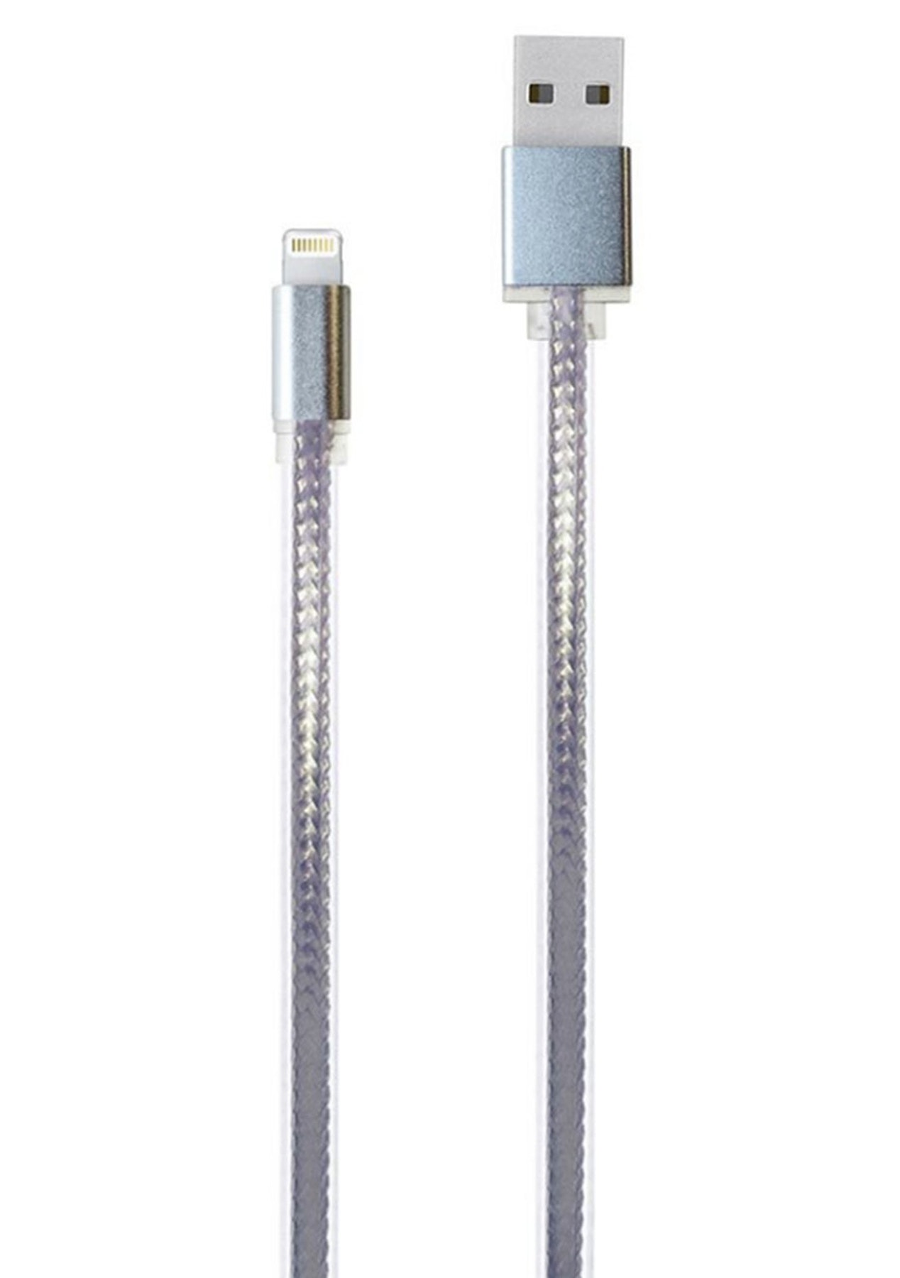 Charged - 2m Metallic USB Charging Cable - Iphone (Silver)